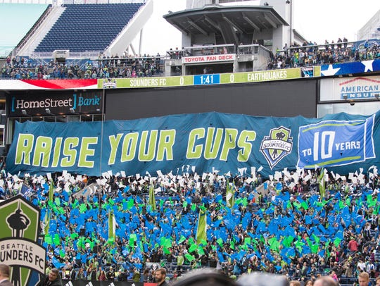 Oct. 28, 2018: Seattle Sounders supports hold up a