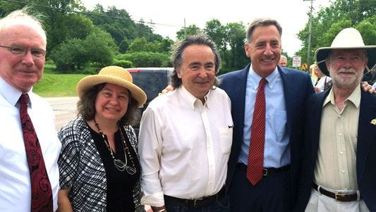 In this June, 2014, Gov. Peter Shumlin poses with a tri-partisan clutch of lawmakers who supported the minimum wage bill he was about to sign into the law. The legislation raises the wage four times in the next four years to reach $10.50 an hour in 2018. Joining him for the signing: (from left) Sen. Kevin Mullin, R-Rutland, Rep. Cindy Weed, P/D-Enosburg Falls, Sen. Anthony Pollina, P/D-Washington, and Rep. David Sharpe, D-Lincoln.