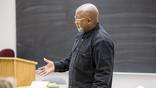 Professor Dwight Mullen teaches his State of Black North Carolina class at UNC Asheville.