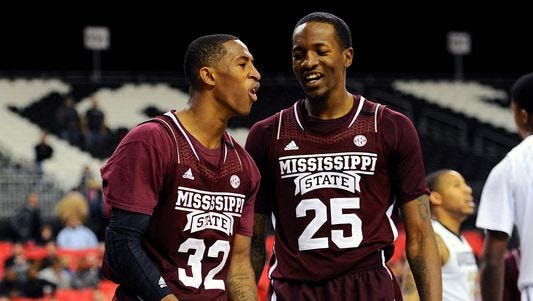 Mississippi State teammates Craig Sword (32) and Roquez Johnson were on the flight that had engine failure and had to make an emergency landing in St. Louis after the Bulldogs beat Missouri last week.