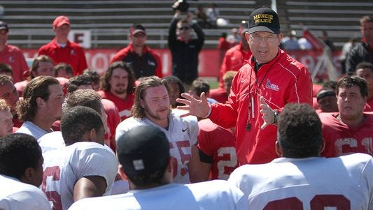 Ball State football coach Pete Lembo guides his team during the 2014 spring game.