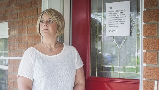 Muncie resident Amy Hagans at her home Wednesday. Hagans was the victim of a craigslist rental property scam. (Photo: