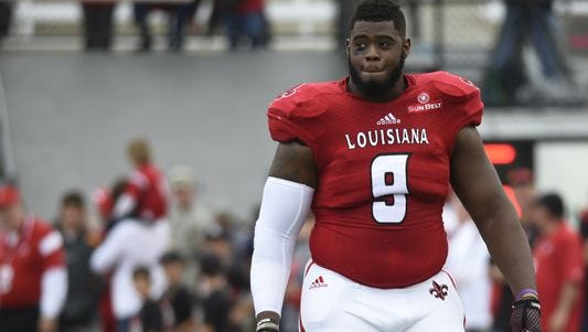 Louisiana-Lafayette defensive end Christian Ringo, the second of the Green Bay Packers' three sixth-round draft picks.