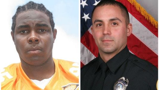 Walter Fisher, left, and officer Brian Birch