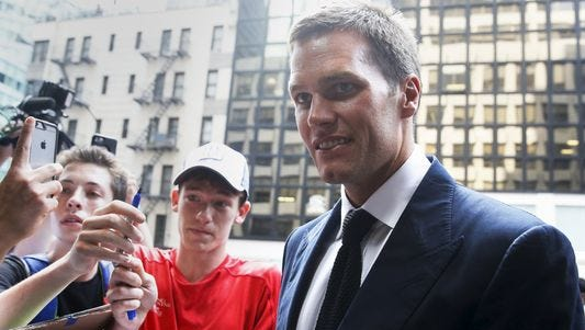 Patriots QB Tom Brady arrives at NFL headquarters Tuesday to appeal his DeflateGate suspension.