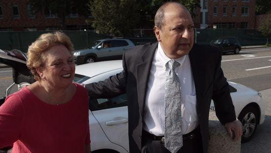 State Sen. Thomas Libous arrives at the White Plains Federal Courthouse with his wife, Frances, for the start of jury selection.