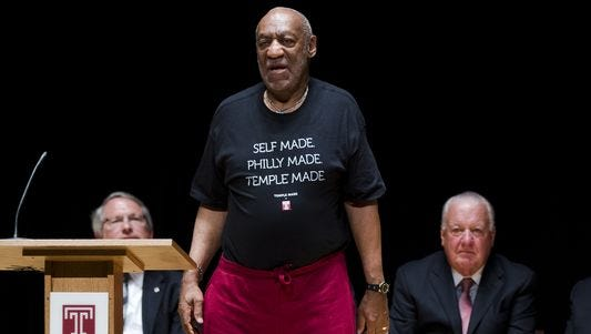 Bill Cosby, with Patrick O'Connor on the right, his lawyer and chairman of Temple University's Board of Trustees, is shown June 4, 2014.