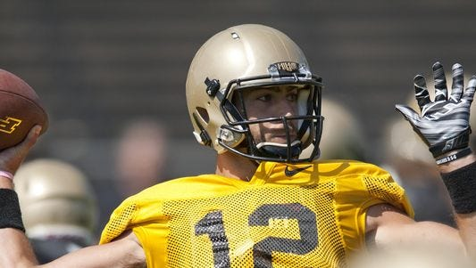 Purdue quarterback Austin Appleby throws over the middle during Saturday's Jersey Scrimmage inside Ross-Ade Stadium.