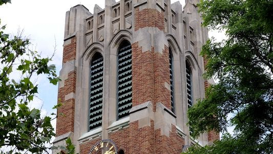 The bell tower on the East Lansing campus of Michigan State University..
