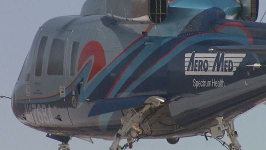 A child was airlifted after being seriously injured in a lawn mower accident in Deerfield Township.