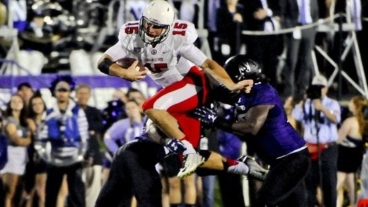 Ball State quarterback Riley Neal running against Northwestern.