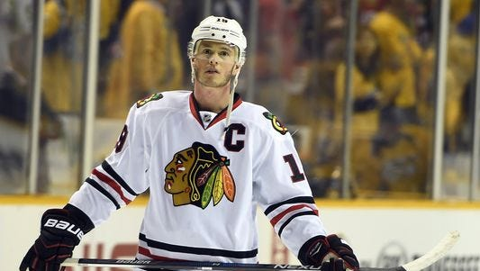 Chicago Blackhawks center Jonathan Toews had 28 goals and 66 points last season.