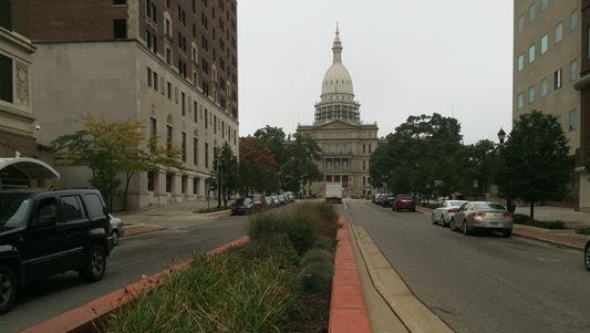 The Michigan Capitol is seen at the end of Michigan Avenue in this Lansing State Journal file photo.