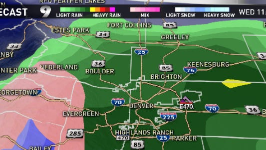 Heavy rain on the plains, wet, melting snow in the mountains and foothills.