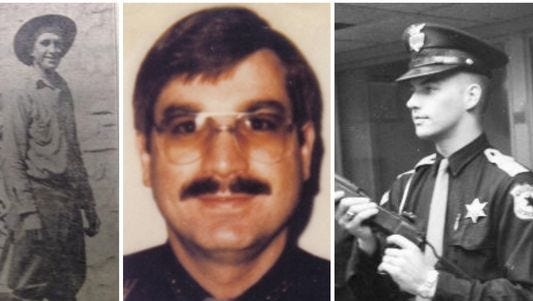 Left to right, fallen Eaton County Sheriff's deputies Cleo Platt, Don Rice and Dean Foster.