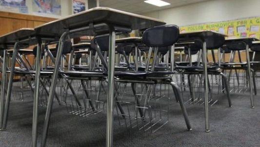 Desks in a school.