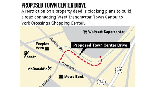 A restriction on a property deed is blocking plans to build a road connecting West Manchester Town Center to York Crossings Shopping Center.