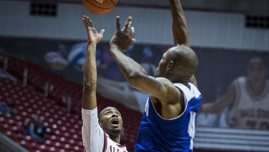 Ball State's Jeremie Tyler shoots past New Orleans' defense during their game at Worthen Arena Saturday, Dec. 5, 2015.