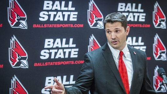 Mike Neu speaks during a press conference at Worthen Arena Friday afternoon.