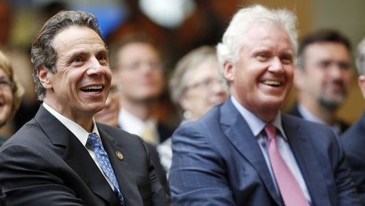 Gov. Andrew Cuomo and GE CO Jeff Immelt at an event near Albany in 2014
