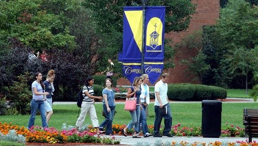 Students on the campus of St. Michael's College.