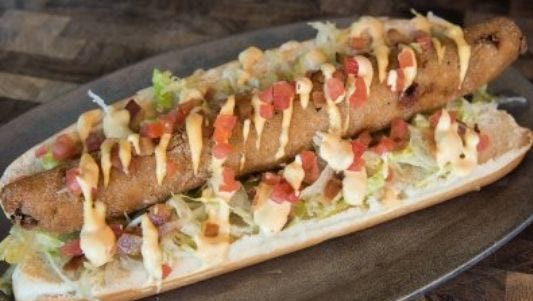 "The Arizona Diamondbacks' ""Cheeseburger Dog"" that will debut at Chase Field in 2016."