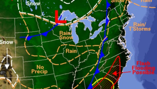 A stormy, low pressure system is moving across the country and will bring rain and cooler weather to the mid-Atlantic.