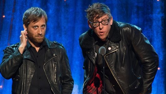 Awkward: Dan Auerbach, left, says he and his Black Keys bandmate Pat Carney, regret having inducted Steve Miller into the Rock Hall of Fame.
