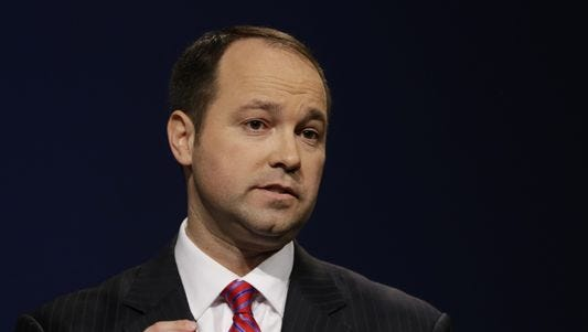 U.S. Rep. Marlin Stutzman, a Republican candidate for U.S. Senate from Indiana, speaks during a debate against U.S. Rep. Todd Young on April 18, 2016, in Indianapolis.