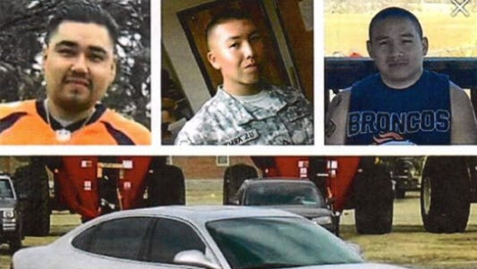 A picture of three men who went missing and were found dead in May 2016 after an accident on the Pine Ridge Indian Reservation.