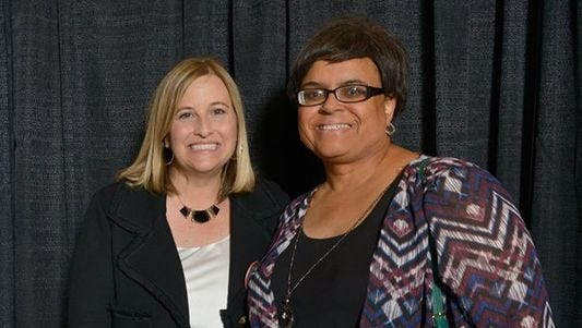 Nashville Mayor Megan Barry, left, and Marisa Richmond, who was confirmed on Tuesday to the Metro Human Relations Commission, becoming the first transgender person to be named to a city board or commission in Nashville.