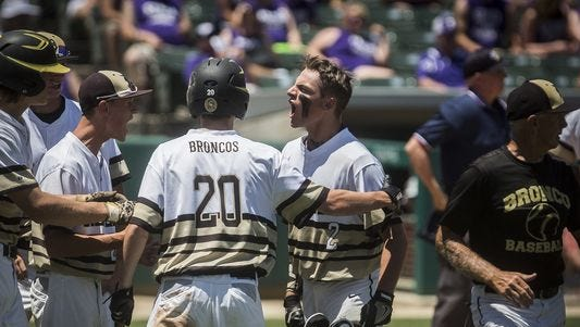 Daleville's TJ Price hits celebrates his homerun against Lanesville during their state championship game at Victory Field Saturday, June 18, 2016.
