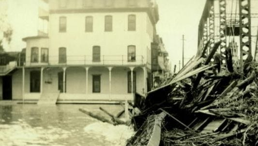 The Hotel Codorus stands tall against the raging waters of the flood of 1933, the last major flood that struck York County before the terrible moment when Tropical Storm Agnes Struck in 1972. The old hotel, on West Market Street in York, is now the home of Murphy & Dittenhafer, architects.
