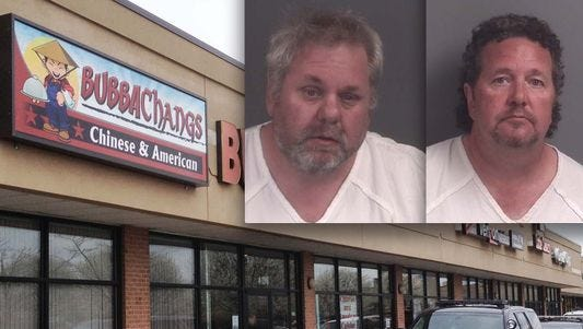 Bubba Changs owners, Jeremy Hamilton and Johnnie Hamilton, inset, have been arraigned on felony charges in connection with an April bat-wielding assault at their restaurant.