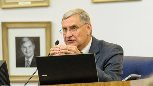 Lafayette Parish Superintendent Donald Aguillard speaks at a 2016 school board meeting. The board recently gave Aguillard high marks for his performance.