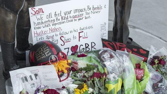 A memorial for Nebraska punter Sam Foltz, who died in a car crash along with former MSU punter Mike Sadler on July 23, 2016.