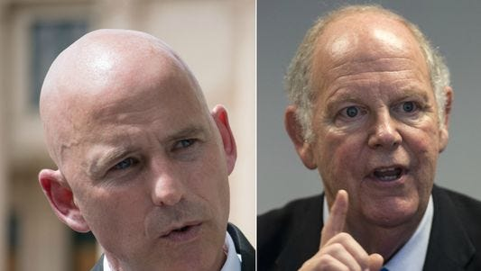 Republican Paul Babeu (left) and Democrat Tom O'Halleran are vying for Arizona's 1st Congressional District seat.