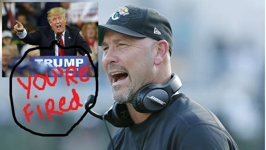 Gus Bradley,  head coach of the Jacksonville Jaguars, was fired.