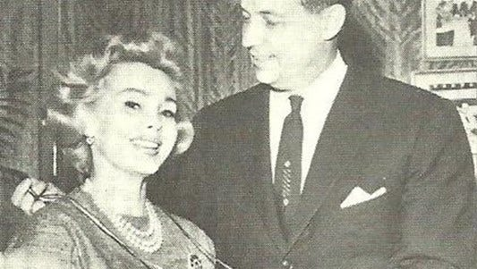 """Zsa Zsa Gabor and Mayor deLesseps """"Chep"""" Morrison in a 1958 photo."""
