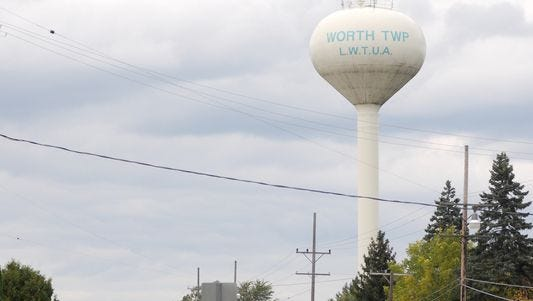 The Worth Township water tower along M-25 in Worth Township.