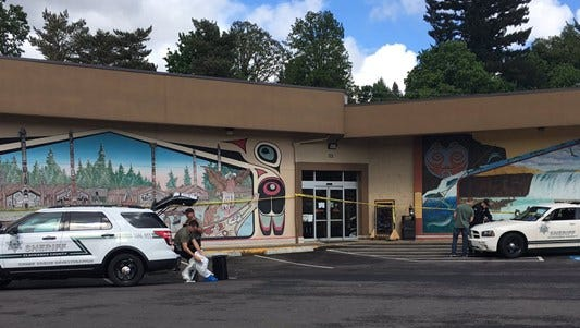 Police report a stabbing at the Estacada Thriftway.