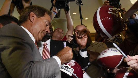 Alabama Crimson Tide head coach Nick Saban greets fans during a past SEC media days at the Wynfrey Hotel.