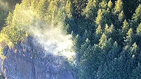 A fire near the Oneonta Gorge in the Columbia Gorge.