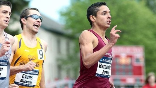 Ramapo College's Jeremy Hernandez (right) earned All-American honors with a top-40 finish at the NCAA Division III men's cross-country championships.