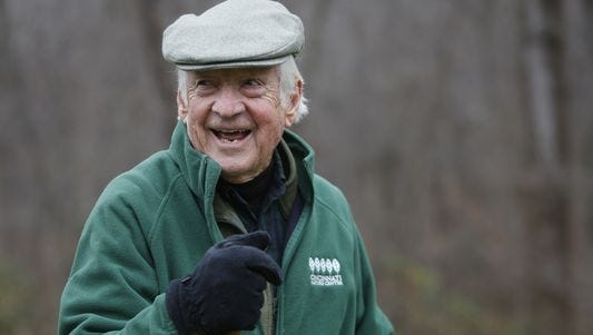 John A. Ruthven hikes on his 165-acre property. Each morning he hikes for about an hour and a half, covering 4 miles. Ruthven uses many of the scenes he's encountered on his hikes as backdrops for his paintings