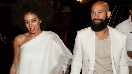 Solange Knowles and her then-fiance, now-husband music video director Alang Ferguson arrive to their rehearsal dinner on Nov. 15, 2014, in New Orleans.