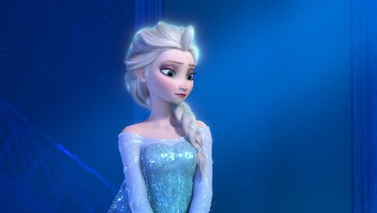 """Teenage Elsa the Snow Queen in a scene from the animated feature """"Frozen."""""""