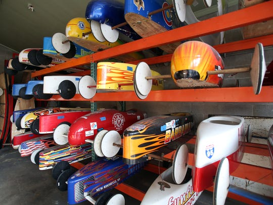 A view of SoapBox cars on display at Fire Station No.