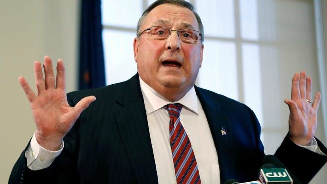 Maine Gov. Paul LePage speaks at a news conference at the State House in Augusta, Maine, in January.