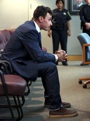 Former Texas A&M and Cleveland Browns quarterback Johnny Manziel during a recent court appearance.